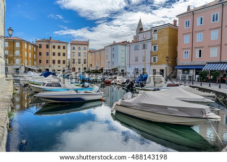 The boat marina in the Italian city of Muggia