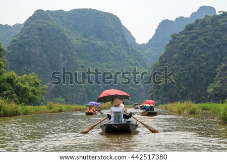 The boats are heading to Tam coc caves, Tam coc, Vietnam.