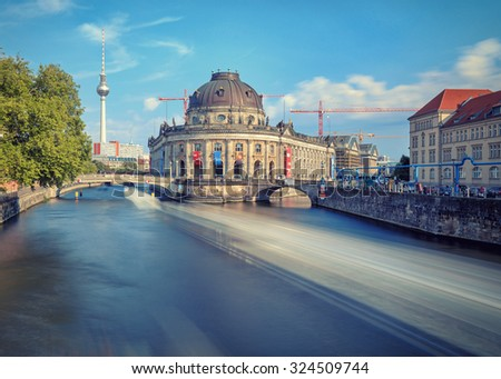 The Bode Museum over the river. Long exposure shot - stock photo