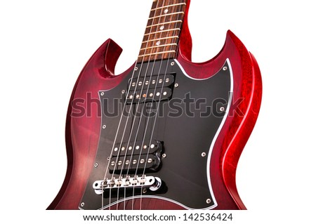 The body of red electronic guitar isolated on white - stock photo