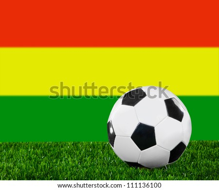 The Bolivian flag and soccer ball on the green grass
