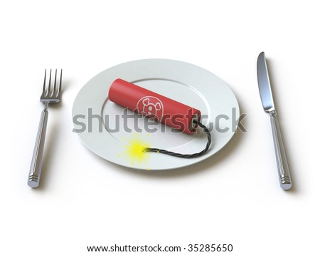The bomb lies on a plate. In my portfolio there is collection of pictures of tablewares and bombs. You only enter IN a SEARCH the Photographer Name: PAVEL IGNATOV and keyword: TABLEWARE or BOMB