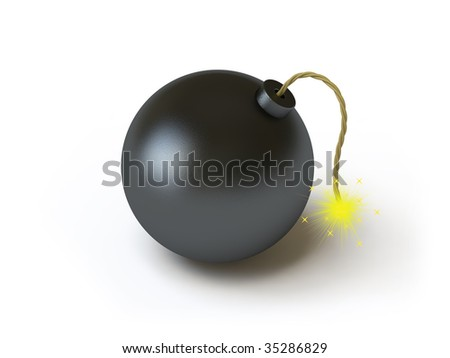 The bomb lies on a white surface. In my portfolio there is collection of pictures of bombs. You only enter IN a SEARCH the Photographer Name: PAVEL IGNATOV and keyword: BOMB - stock photo