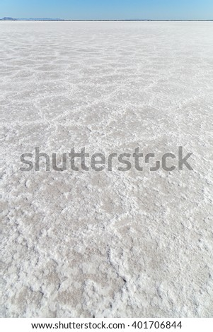 The Bonneville Salt Flats in Utah on a clear fall day - stock photo