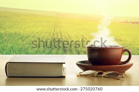The book and a cup of hot tea - stock photo