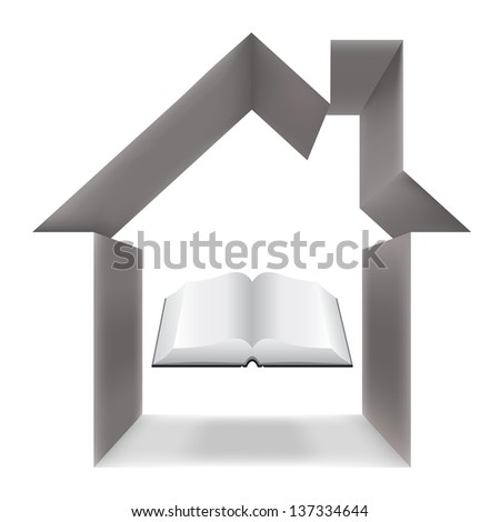 The book and the house conceptually - stock photo