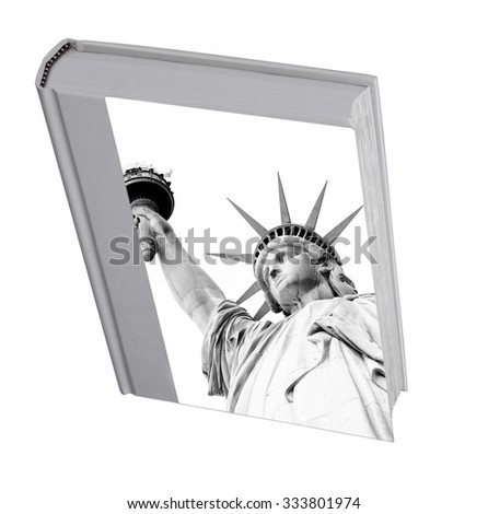 The book with a picture of the Statue of Liberty, hard cover ( picture of the Statue of Liberty is designer's picture) - stock photo