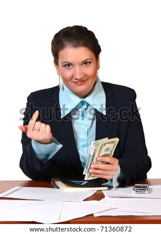 The bookkeeper counts money - stock photo