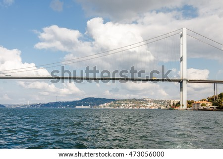 The Bosphorus Bridge connecting Europe and Asia, Istanbul, Turkey.