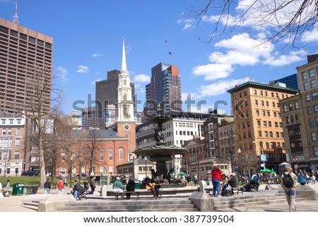 The Boston Common, Boston - April 2009: The Boston Common, founded in 1634, is the oldest public park in America. Boston, Massachusetts, USA. - stock photo