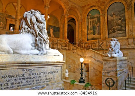 The Boston Public Library is one of the largest municipal public library systems in the United States - stock photo