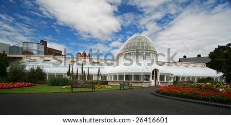 the botanic gardens in belfast under a dramatic sky line - stock photo