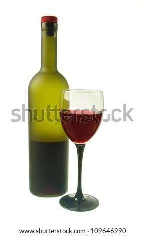 The bottles of red wine and  glass.White  background