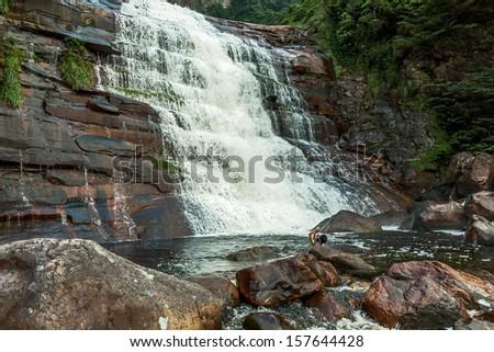 The bottom parts of the Angel Falls ( Salto Angel ) is world highest waterfalls (978 m) - Venezuela, Latin America - stock photo