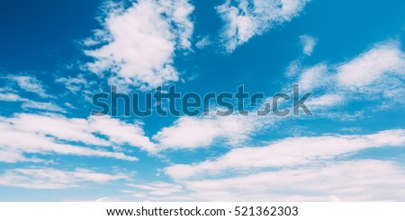 The Bottom View Of Blue Sky With White Cirrostratus Clouds.