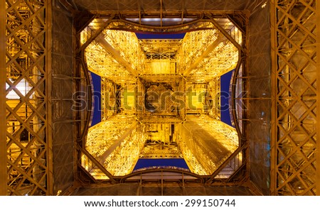 The bottom view of the Eiffel tower in Paris, France - stock photo
