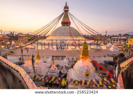 The Boudhanath tample with light in Sunset. - stock photo