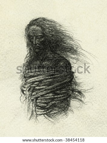 The bound man. Pencil on paper. - stock photo