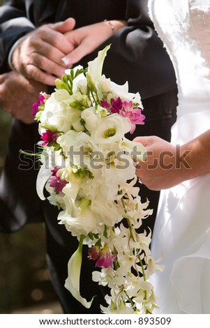 the bouquet of the wedding bride - stock photo
