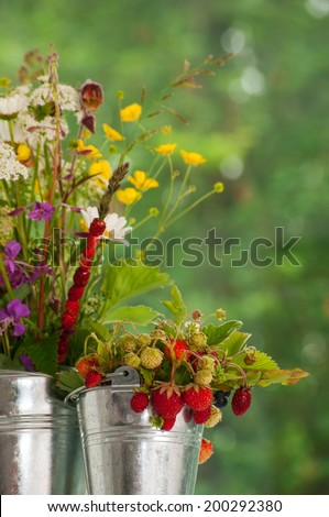 The bouquet of wild strawberry and flowers