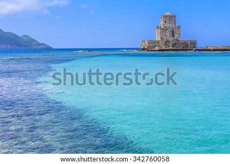 The Bourtzi tower in Methoni Venetian Fortress in the Peloponnese, Messenia, Greece.  - stock photo