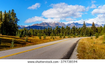 The Bow Mountain Range visible from the Bow Valley Parkway in the Fall in Banff National Park, Alberta, Canada - stock photo
