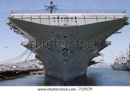 The bow of the aircraft carrier intrepid, docked at Alameda California. - stock photo
