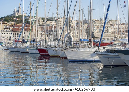 The bow of the boats and yachts in the port of Marseilles.Shooting the summer 2013. - stock photo