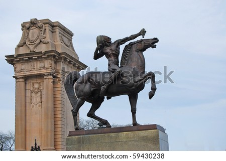 The Bowman also known as Indians is two bronze equestrian sculpture standing as gatekeepers at the intersection of Congress Drive and Michigan Avenue in Grant Park, Chicago,