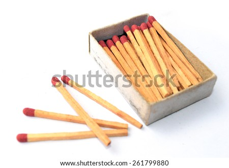 The box of matches and the other 4 matches outside the box - stock photo