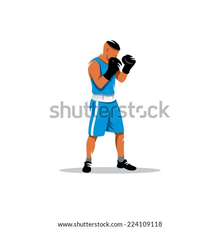 The boxer sign Branding Identity Corporate logo design template Isolated on a white background - stock photo