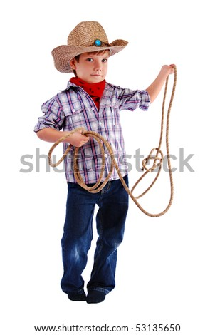 The boy in a suit of the cowboy, In studio - stock photo