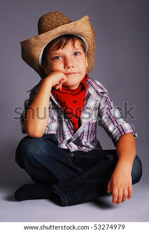 The boy in a suit of the cowboy, In studio