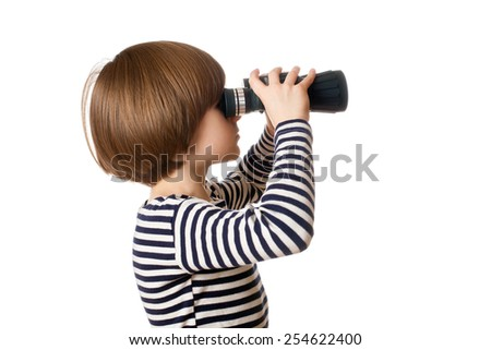 The boy in sailor's striped vest with binoculars, isolated on white background - stock photo