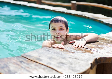 The boy in the pool