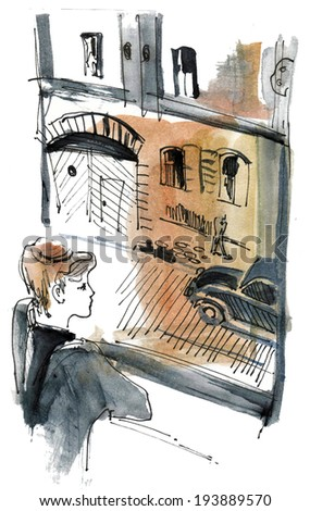 The Boy looking at the car vintage watercolor illustration painting book poster textile print - stock photo