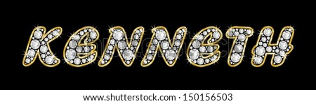 The boy, male name KENNETH made of a shiny diamonds style font, brilliant gem stone letters building the word, isolated on black background.