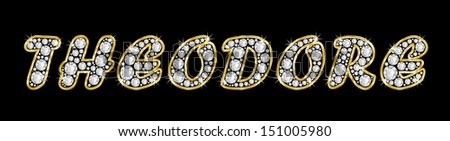 The boy, male name THEODORE made of a shiny diamonds style font, brilliant gem stone letters building the word, isolated on black background. Gold framed.