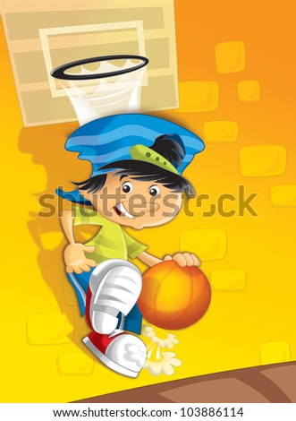 The boy playing basketball - stock photo