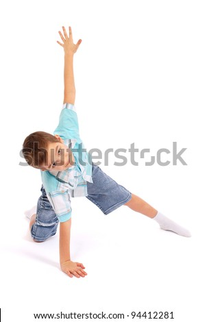 The boy poses, isolated on white background - stock photo