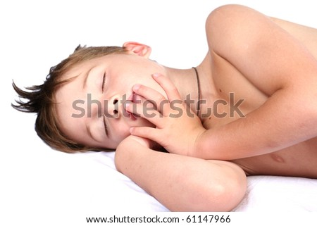 The boy strong sleeps on a white background