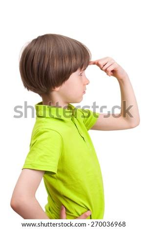 the boy thinks - stock photo
