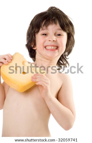 The boy with a slice of cheese - stock photo