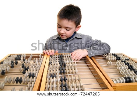 The boy with abacus isolated on white - stock photo
