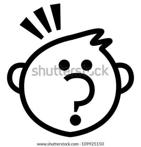 The Boy With Question Mark Nose Isolate on White Background - stock photo