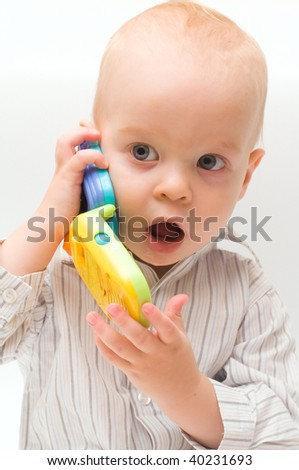 The boy with telephone