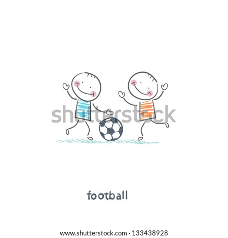 The boys are playing football. Illustration. - stock photo