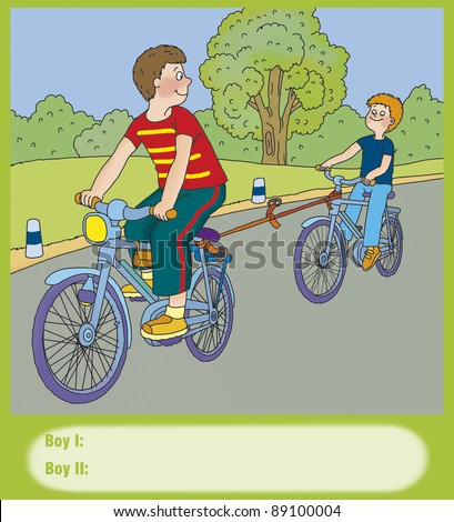 the boys go on bike-related, correct? - stock photo