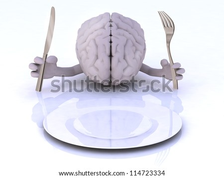 the brain with hands and utensils in front of an empty plate - stock photo