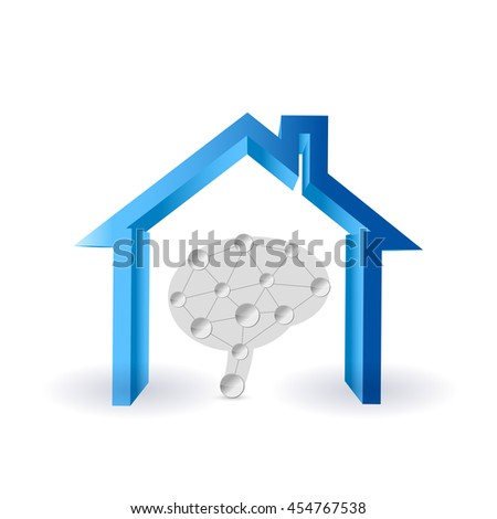 the brains in the home illustration design graphic - stock photo